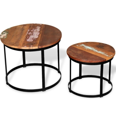 Two Piece Coffee Table Set Solid Reclaimed Wood Round 40cm/50cm