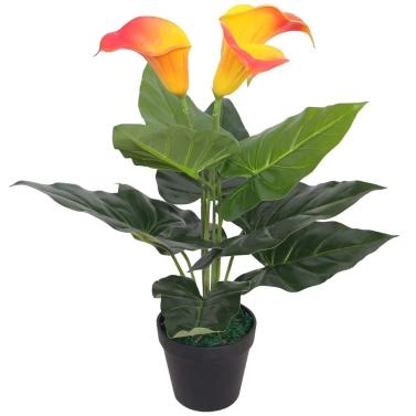 Künstliche Calla-Lilienpflanze mit Topf 45 cm rot und gelb
