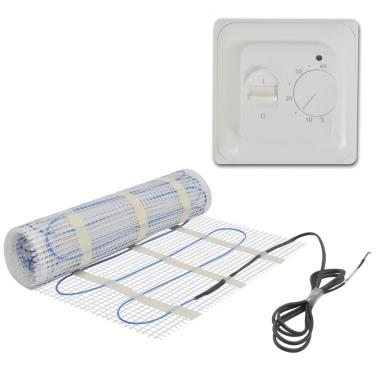 2 mu00b2 Underfloor Heating Mat 200 W/mu00b2 Twin Thermostat