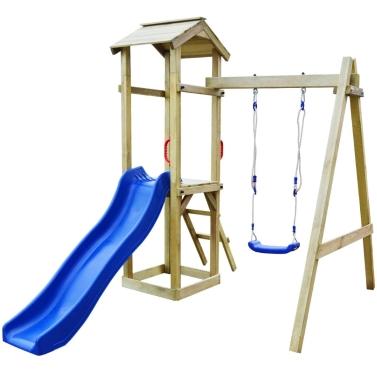 Spielhaus-Set mit Rutsche Leiterschaukel 237x168x218 cm Pinienholz (43265 + 91222 + 90980)