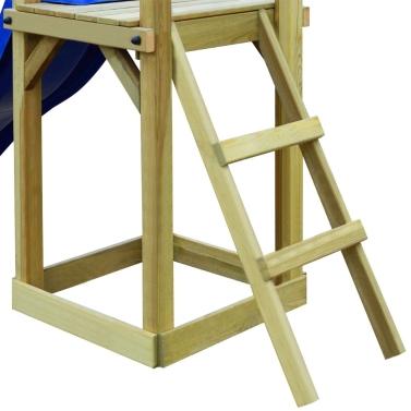 Spielhaus-Set mit Rutschleiter 237x60x175 cm Pinienholz (43271 + 91228 + 90980)
