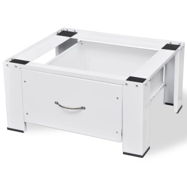Sockel für Waschmaschine Weiß mit Schublade