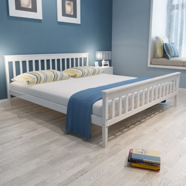 White Solid Pinewood Bed 200 X 180 Cm