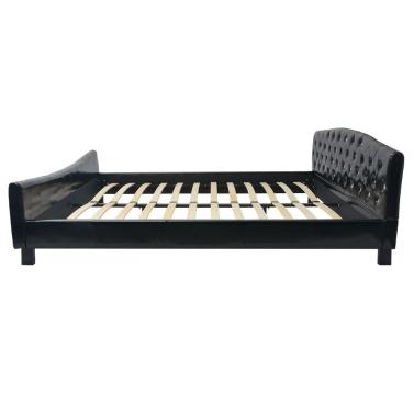 Doppelbett mit Matratze Kunstleder Schwarz 180 x 200 cm
