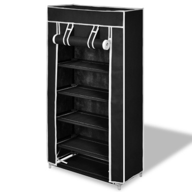 """Fabric Shoe Cabinet with Cover 23"""" x 11"""" x 42"""" Black"""
