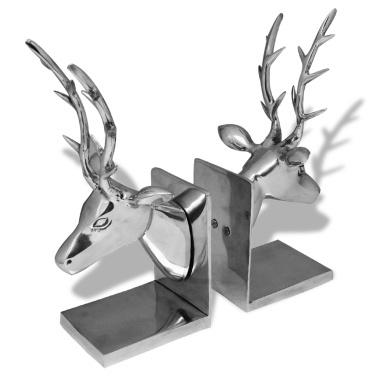 Deer-shaped Bookends 2 pcs Aluminum Silver