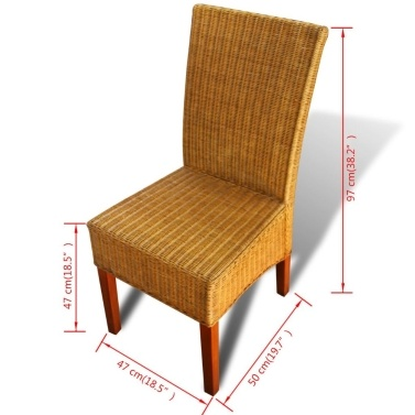 4 Pcs Brown Rattan Dining Room Chairs