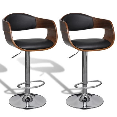 Leather Bar Stool Chair With Backrest Armrest 2 Pcs