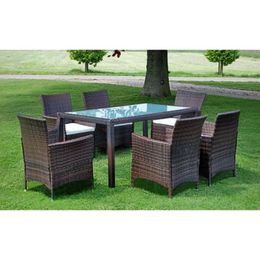 Brown Poly Rattan Garden Furniture Set 1 Table 6 Chairs