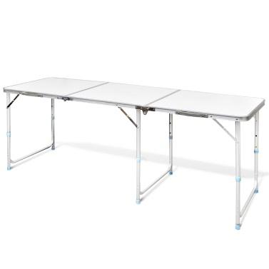 Faltbare Camping Tisch Höhenverstellbarer Aluminium 180 X 60 Cm