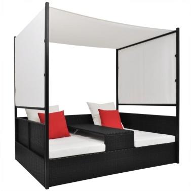 Doppel-Liegebett mit Sonnendach Poly Rattan Schwarz