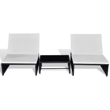 Doppel-Liegestuhl mit 5-teiligem schwarzem Kunststoff-Rattantisch