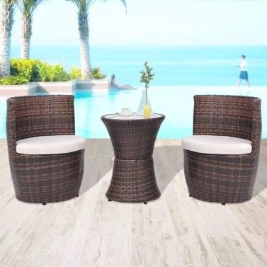 Conjunto de muebles de exterior ratán sintético marrón 5 piezas