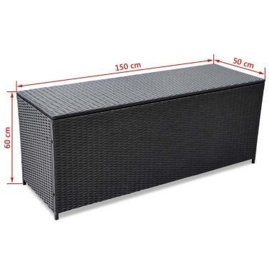 Outdoor Aufbewahrungsbox Polyratán schwarz 150x50x60 cm