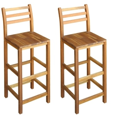 """Bar Chairs 2 pcs Solid Acacia Wood 16.5""""x14.2""""x43.3"""""""