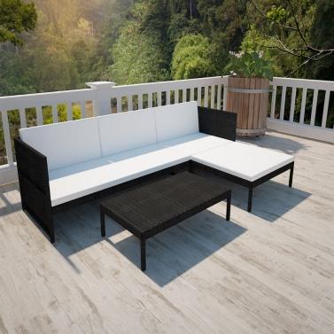 black outdoor poly rattan lounge set three seat sofa - Garden Furniture Lebanon