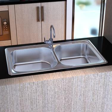 Doppelablass Wannen-Quadrat-Küche mit Edelstahl