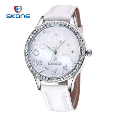 SKONE Women Gold Dress Watches Cloud Crystal Rhinestone Dial Leather Watch Luxury Casual Relogio Quartz WristWatch