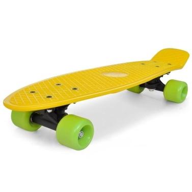 Skateboard Retro giallo con ruote verdi 15,5 cm