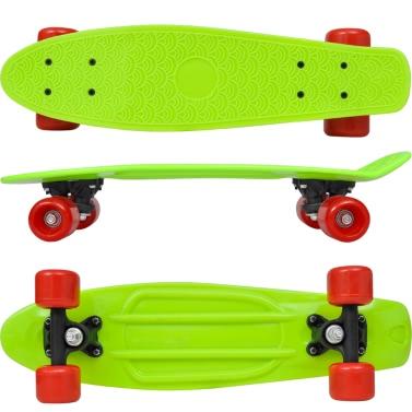 Skateboard Retro verde con ruote rosse 15,5 cm