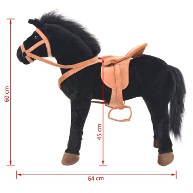 Standing Toy Horse Plush Black