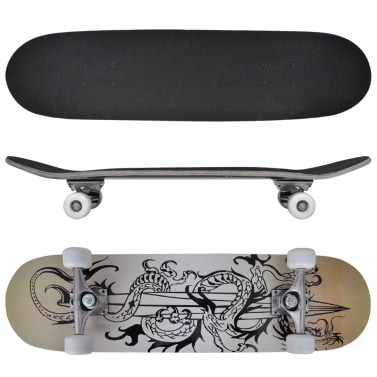 Skateboard ovale 9 strati acero design drago 20,32 cm