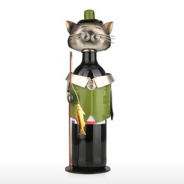 Angeln Katze Weinhalter Vintage Pickup Katze Weinflaschenhalter Statue oder dekorative Weinregal