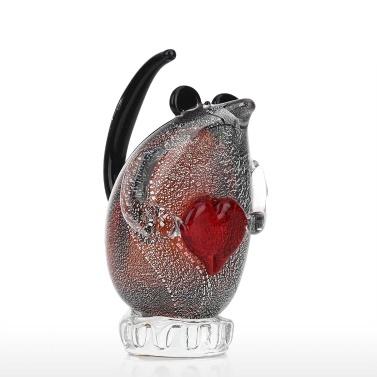 Tooarts Mouse Glass Sculpture Handmade Glass Ornament Animal Sculpture Home Decor Gift Craft