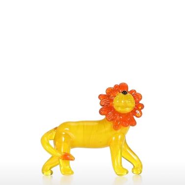 Little Lion Glass Ornament Animal Statue Figurine Hand Blown Glass Art Home Decor