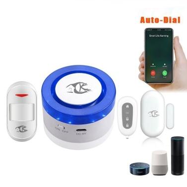 Sistema de alarma Wifi 110dB Flash Strobe Siren Alarm Host Autodial Intercom IOS Android APP Tuya Remote Control Home Sistema de alarma de seguridad antirrobo compatible con Alexa Voice Control