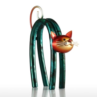 Tooarts Spring Little Cat Metal Sculpture