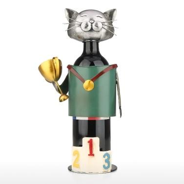 Champion Cat Weinhalter Vintage Pickup Cat Weinflaschenhalter Statue oder dekoratives Weinregal