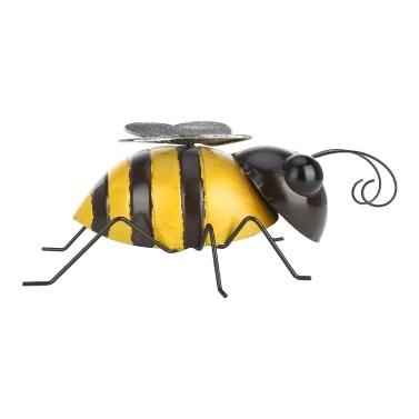 Tooarts Biene Wanddekoration Eisen Cartoon Biene Spaß Dekoration Handwerk Abnehmbare Flügel Garten oder Kinderzimmer Dekor natürlichen Bauernhausstil