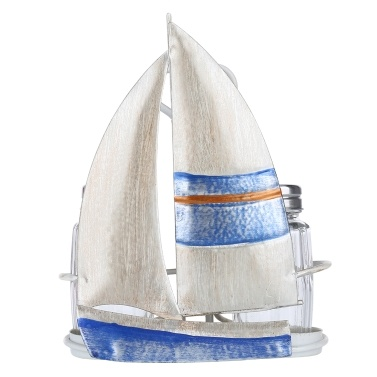 Tooarts Sailing Boat Condiment Rack Sauce and Pepper Bottle Storage Iron Holder Handy Table Organizer Kitchen Decoration Contains Two Glass Bottles