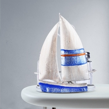 Tooarts Segelboot Gewürzregal Sauce und Pfefferflasche Lagerung Eisenhalter Handy Table Organizer Küchendekoration Enthält zwei Glasflaschen