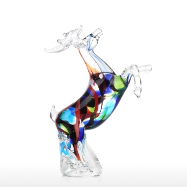 Tooarts Colorful Reindeer Sculpture Handmade Glass Ornament Animal Figurine Tabletop or Home Decor Christmas Gift Multicolor
