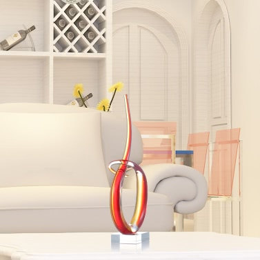 Rhythm Tooarts Glass Sculpture Home Decoration Glass Ornament Elegant Shape