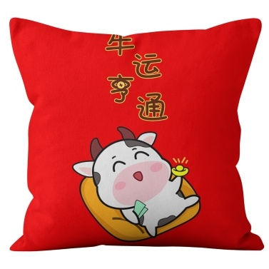 Spring Festival Pillow Sofa Cushion Cover Zipper Pillowcase for Sofa Couch Bed and Car