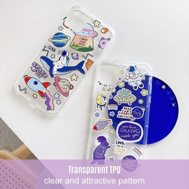 Phonecase Transparent Whale Dinosaur Astronaut Spaceship Planet Designs Soft TPU Cover Phone Shells Shockproof Slim Flexible Protective Anti-Slip Cell Phone Cover for iphone