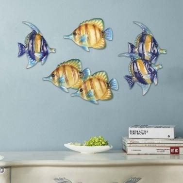 """Tropische Fische Wandbehang 1 Eisen Wand Dekor kreative Ornament Handwerk 7,9 """"Wand Kunst Wandbehang Unterwasserwelt"""