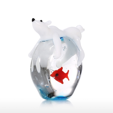 Белый медведь и рыба ручной работы с животными искусство выдувное стекло искусство фигурка диких животных украшение дома
