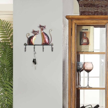Tooarts Iron Cat Wall Hanger Hook Decor 4 Hooks for Coats Bags Wall Mount Clothes Holder Decorative Gift