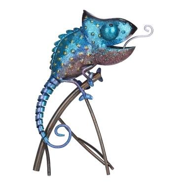 Tooarts Chamäleon Skulptur Eisen Tier Ornament Wild Animal Style Innen- oder Außendekoration Chamäleonliebhaber Geschenk Blau