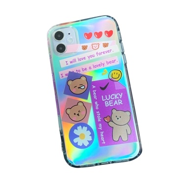 Lasers Phonecase Cute Bear Designs Glitter TPU Cover Phone Shells Shockproof Slim Flexible Protective Anti-Slip Cell Phone Cover for iphone