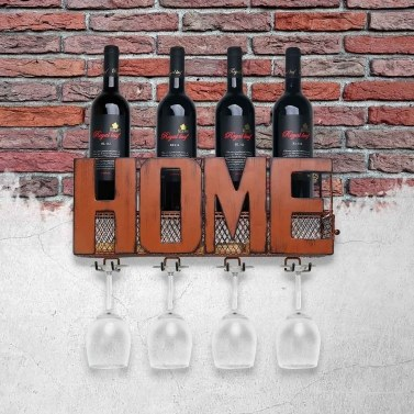 Wall Mounted Wine Rack Cork Storage Container Glass Holder with 4 Cork Wine Charms Storage Rack Home Kitchen Decor