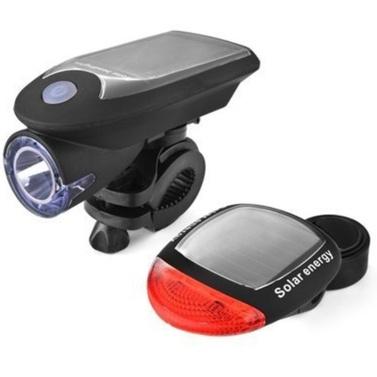 新しいソーラー自転車ヘッドライトUSB充電自転車ライト