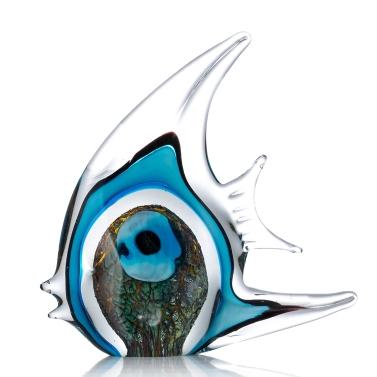 Blauer Streifen-tropische Fisch Tooarts Glasskulptur Hauptdekoration Glasfische