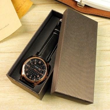 YAZOLE Watch Box Organizer Rectangular Watch Boxes Long Black Gift Packing Box for Watch Bracelet Jewelry (Blue Plaid)