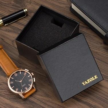 YAZOLE Uhrenbox Geschenkbox Uhren Verpackungsboxen Quadratisch Schwarz Enthält einen H-förmigen Schwamm für Uhrenarmbandschmuck