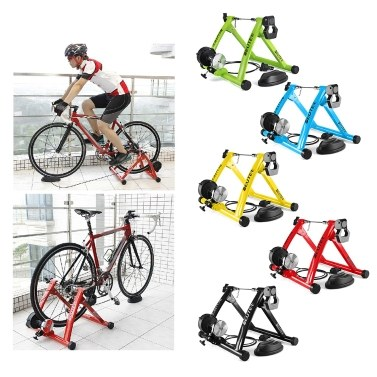 Foldable Magnetic Bike Trainer Stand with 6 Resistance Levels Cycling Rack Indoor Bicycle Exercise Training Stand for 26-28 Inch Bike Tires